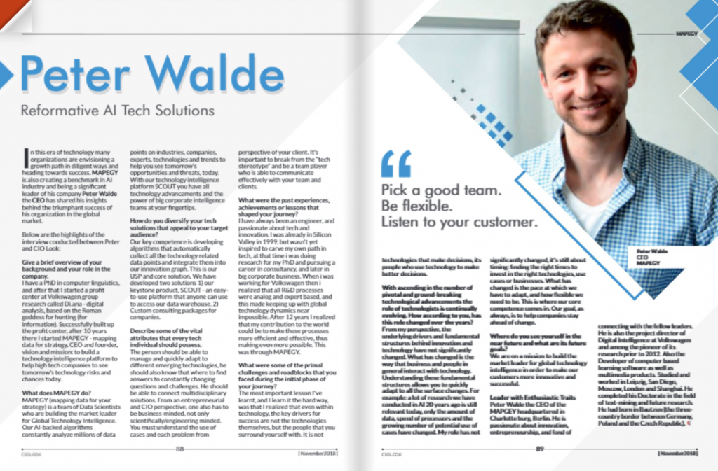 MAPEGY'S CEO featured in CIO Look magazine!